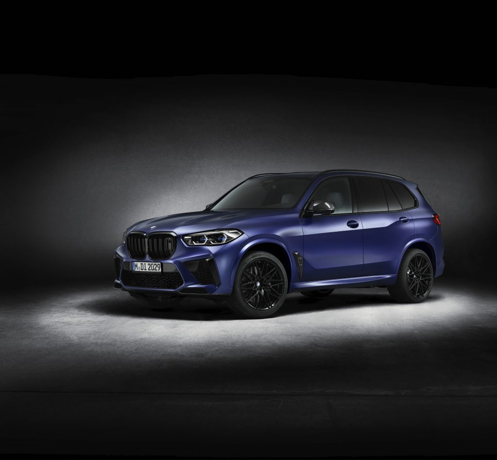 A blue 2021 BMW X5 M Competition on display