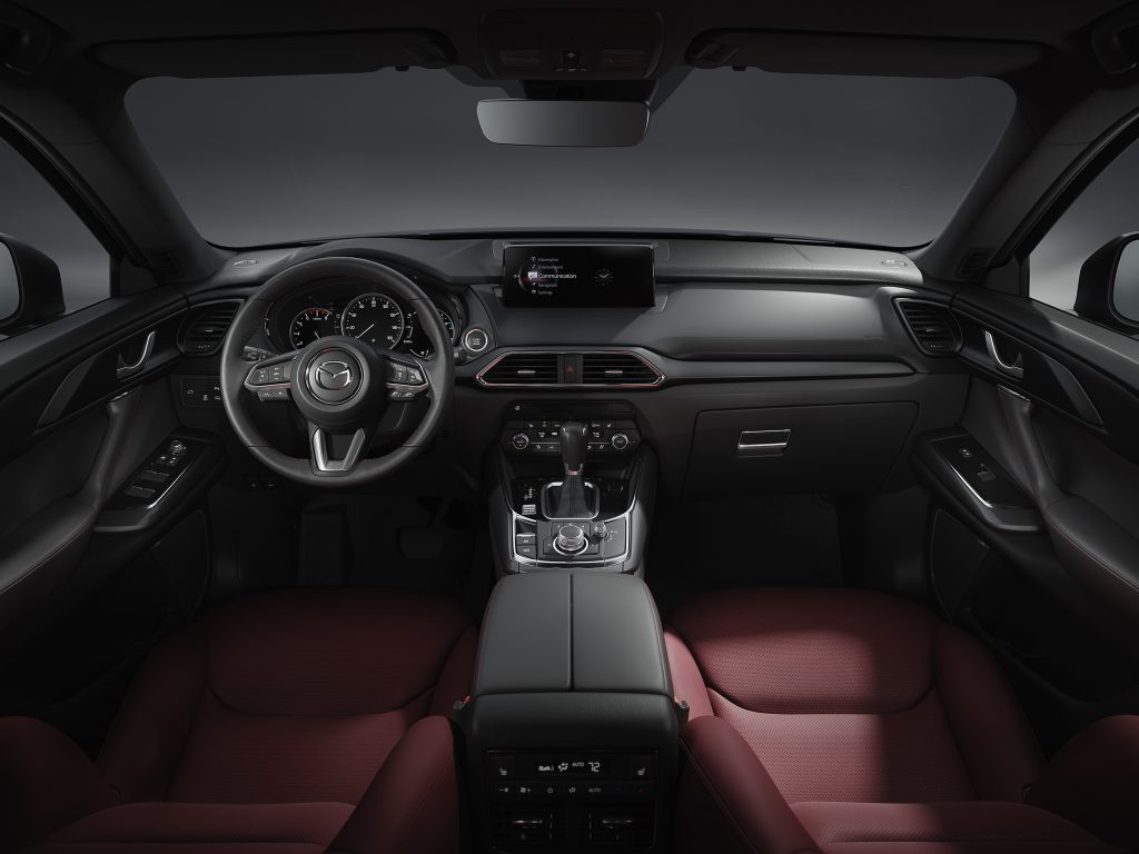 the dark and detailed interior of the 2021 Mazda CX-9 carbon edition SUV