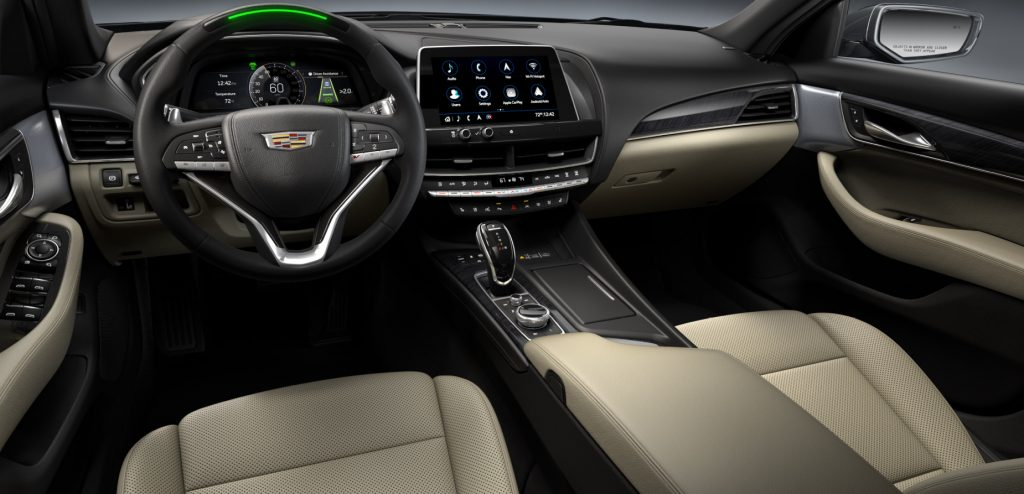 A look into the interior of the 2021 Cadillac CT5-V, which features wireless Apple CarPlay and Android Auto