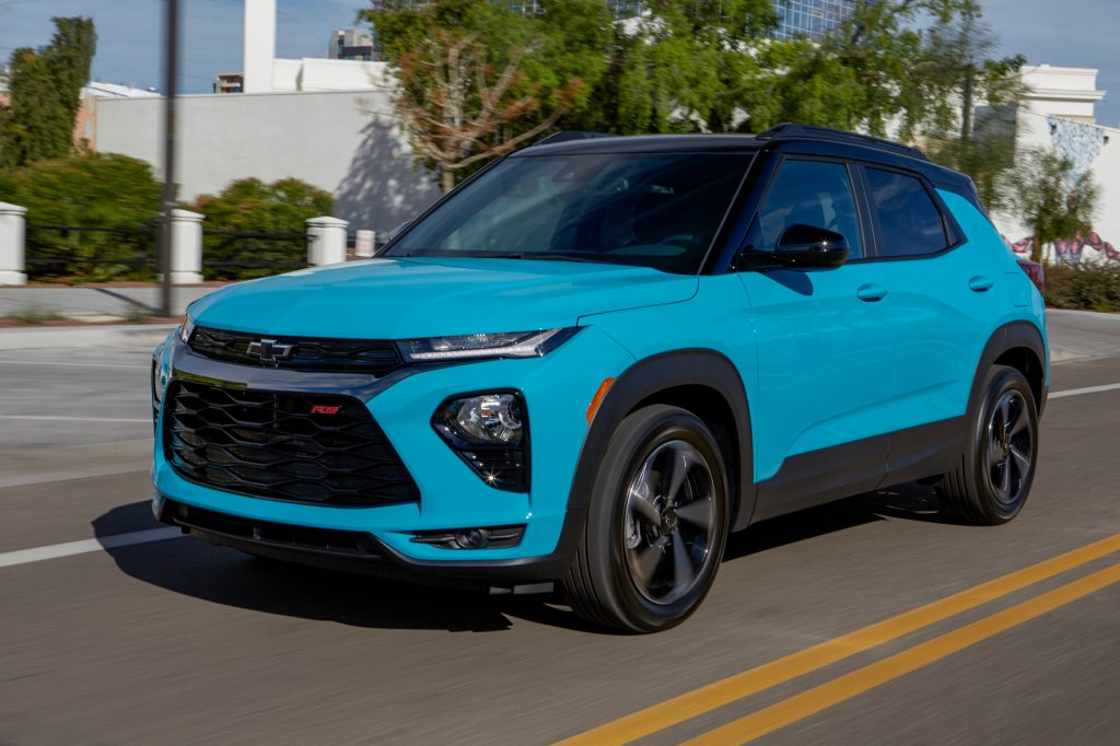 new cars like this blue 2021 Chevy Trailblazer driving down a city street have available wifi subscription options