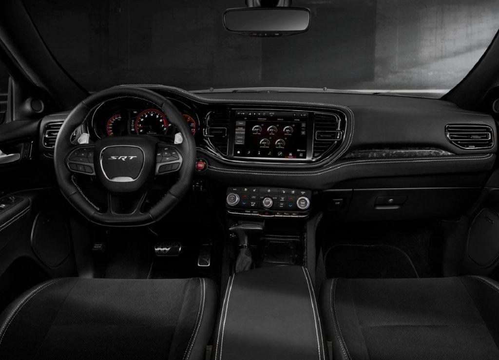 The 2021 Dodge Durango SRT Hellcat's black front seats and dashboard