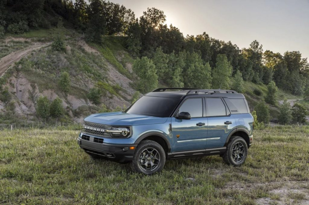 The 2021 Ford Bronco Sport on display in a wooded area