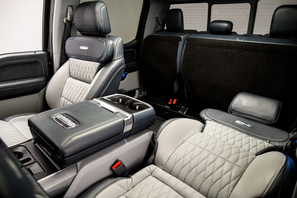 The 2021 Ford F-150's max recline seats, with one folded flat at nearly 180 degrees