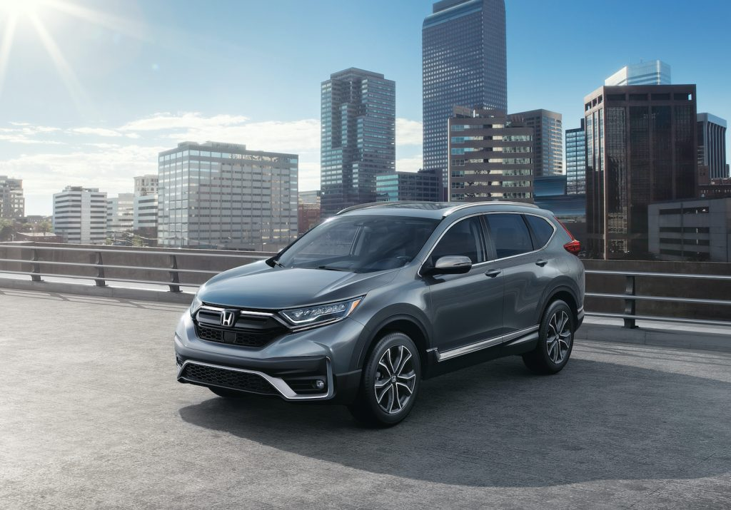 The 2021 Honda CR-V Touring in a city