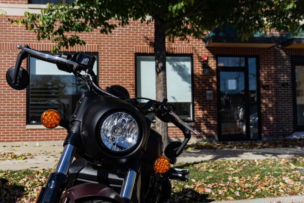 The 2021 Indian Scout Bobber's headlight and handlebars