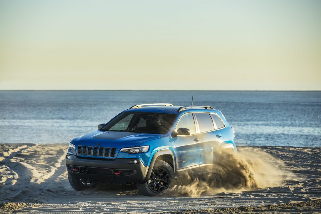 2021 Jeep® Cherokee Trailhawk in the sand