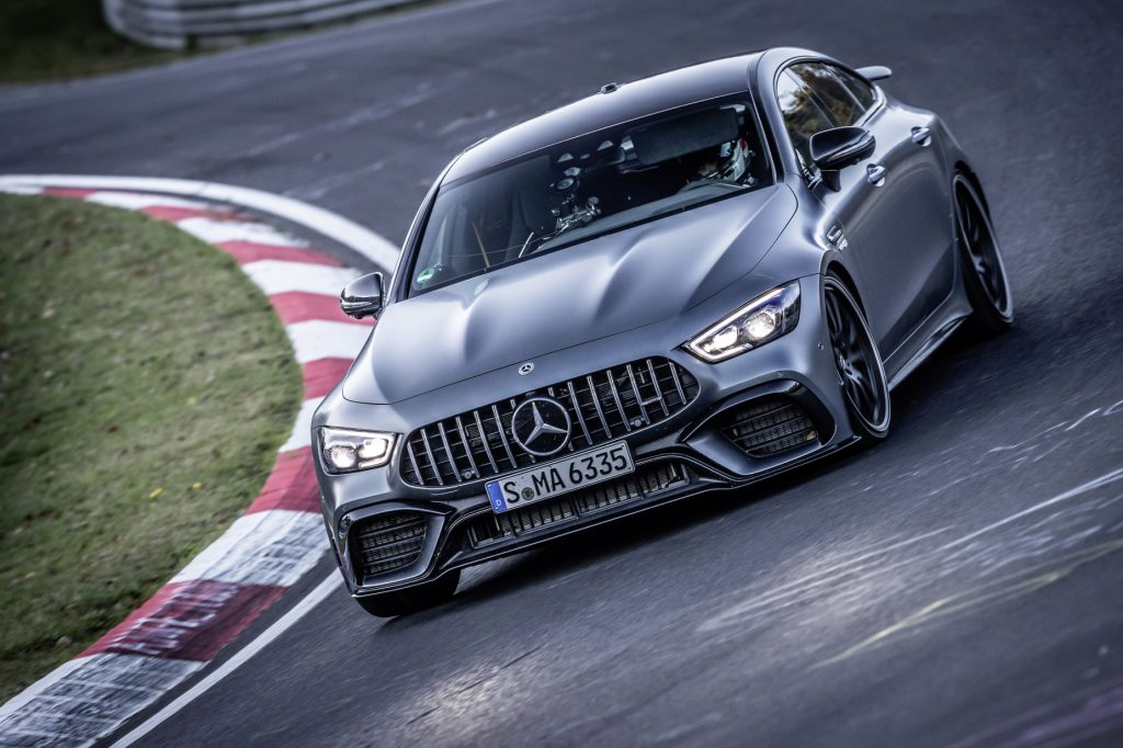 The 2021 Mercedes-AMG GT 63 S driving on the Nurburgring course while setting its record lap time