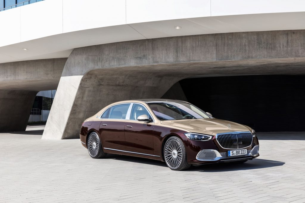 A gold-and-maroon 2021 Mercedes-Maybach S-Class