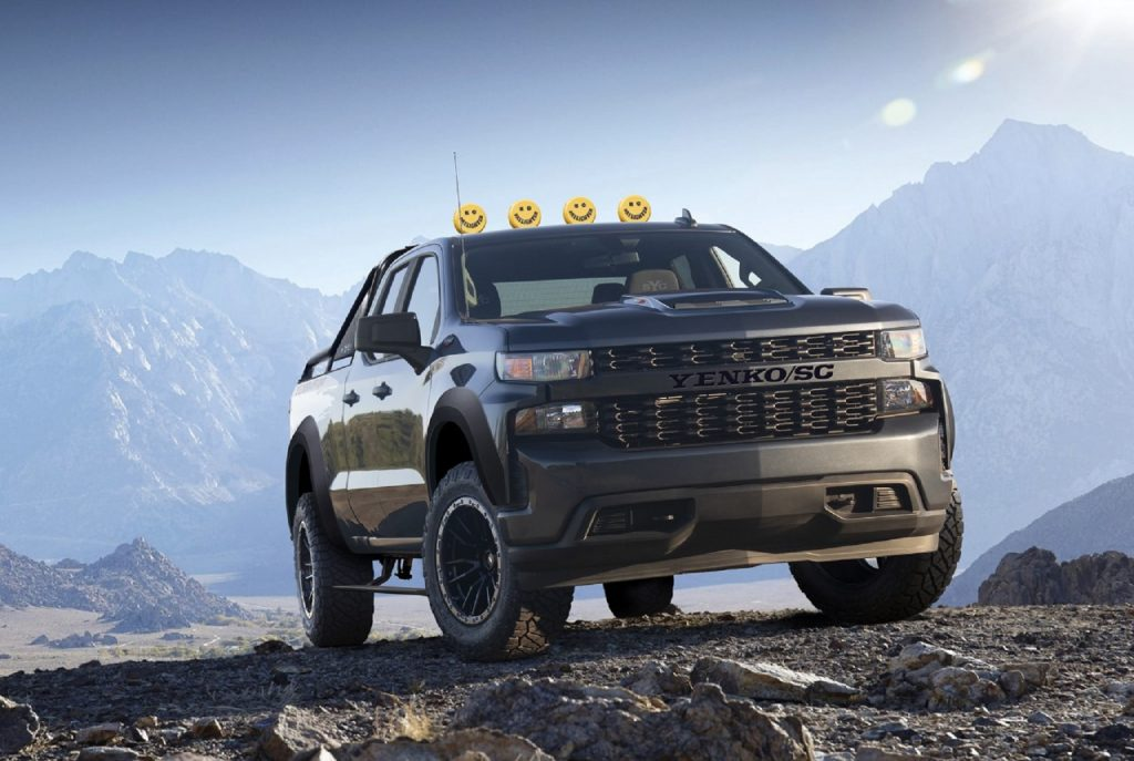 A black 2021 SVE Yenko Chevrolet Silverado Off-Road climbs a mountain