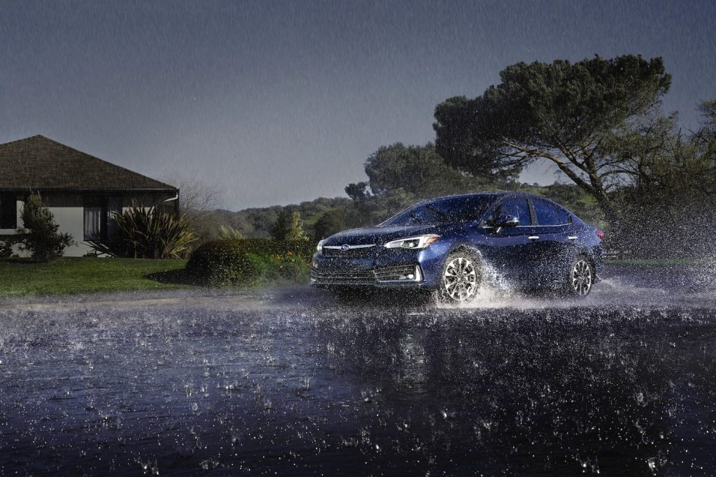2021 Subaru Impreza in the rain
