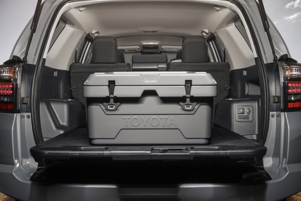 A look inside the cargo area of the 2021 Toyota 4Runner with has a box inside of it