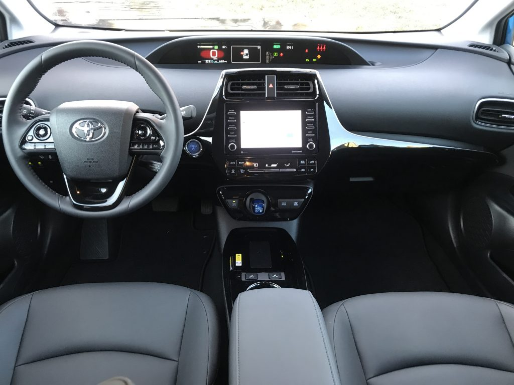 Front seats of the 2021 Prius.
