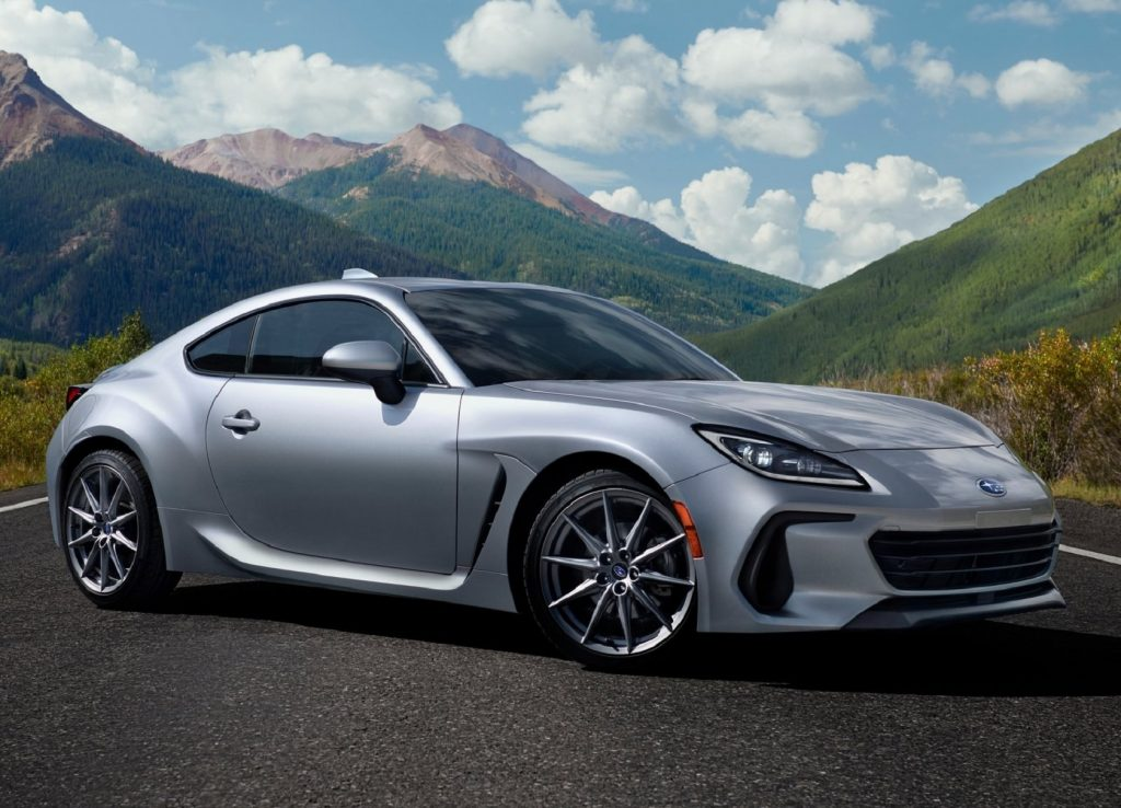 A silver 2022 Subaru BRZ on a mountain road