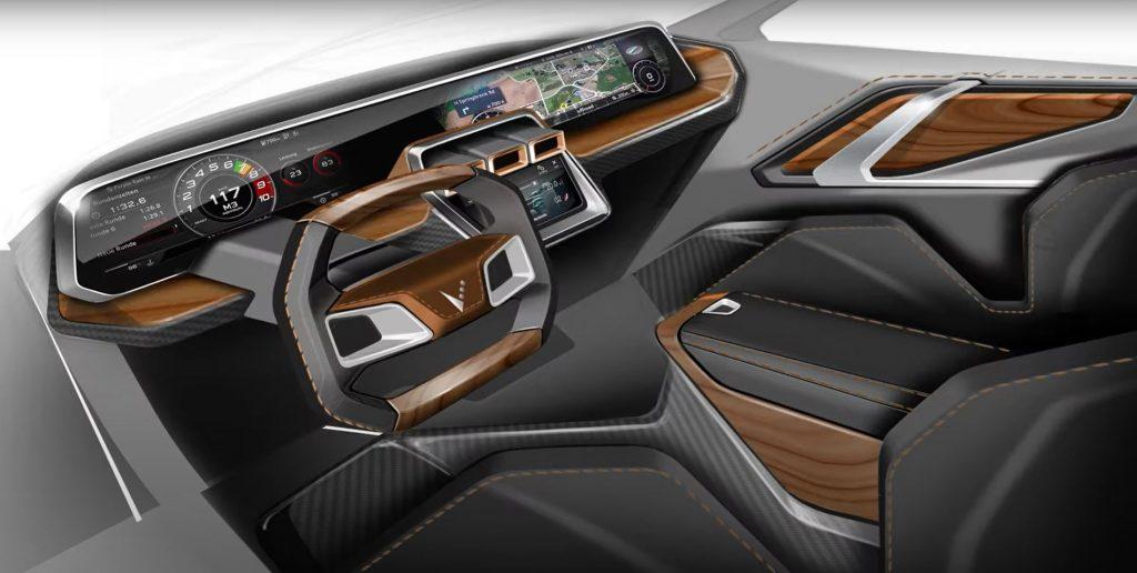 A rendering of the interior in a 2022 Bricklin EV3