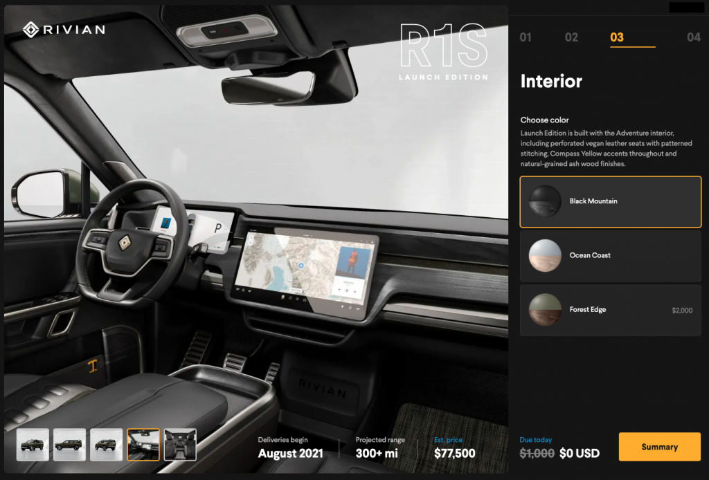 The interior trim configurator for showing three different choices