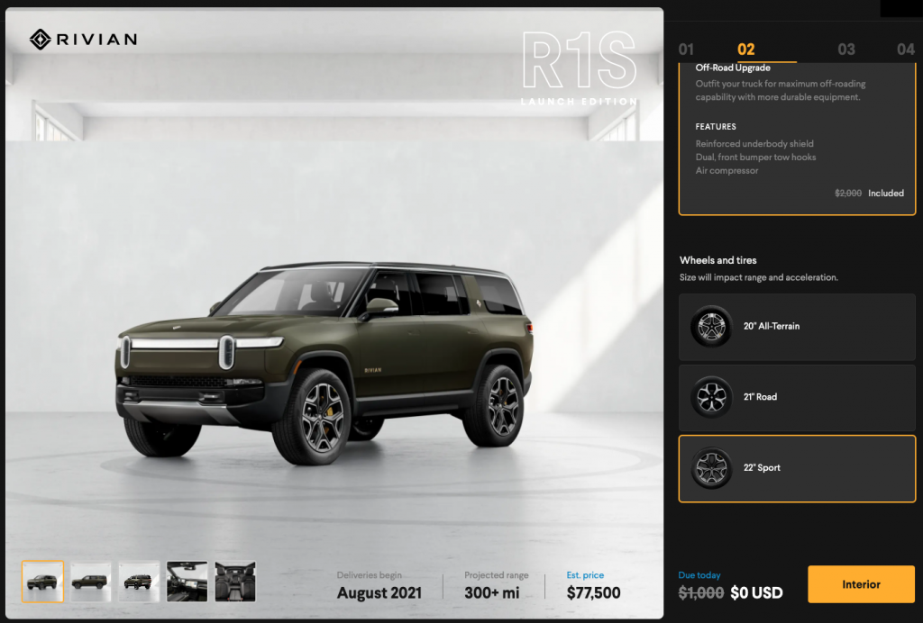 Launch green paint color for the Rivian R1S