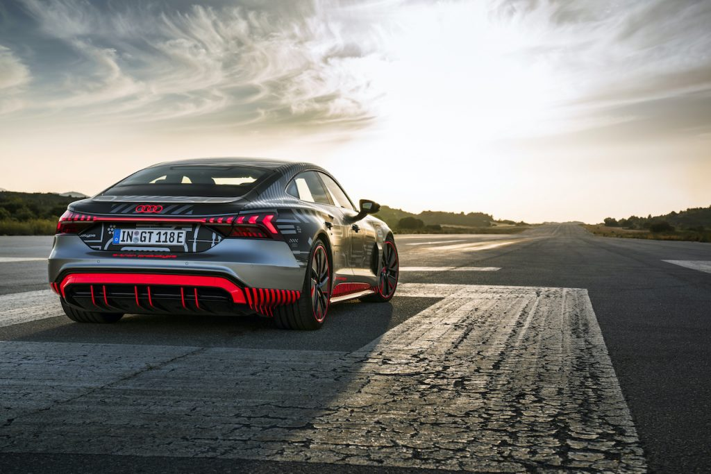 A photo of the 2021 Audi RS e-tron GT on a track.