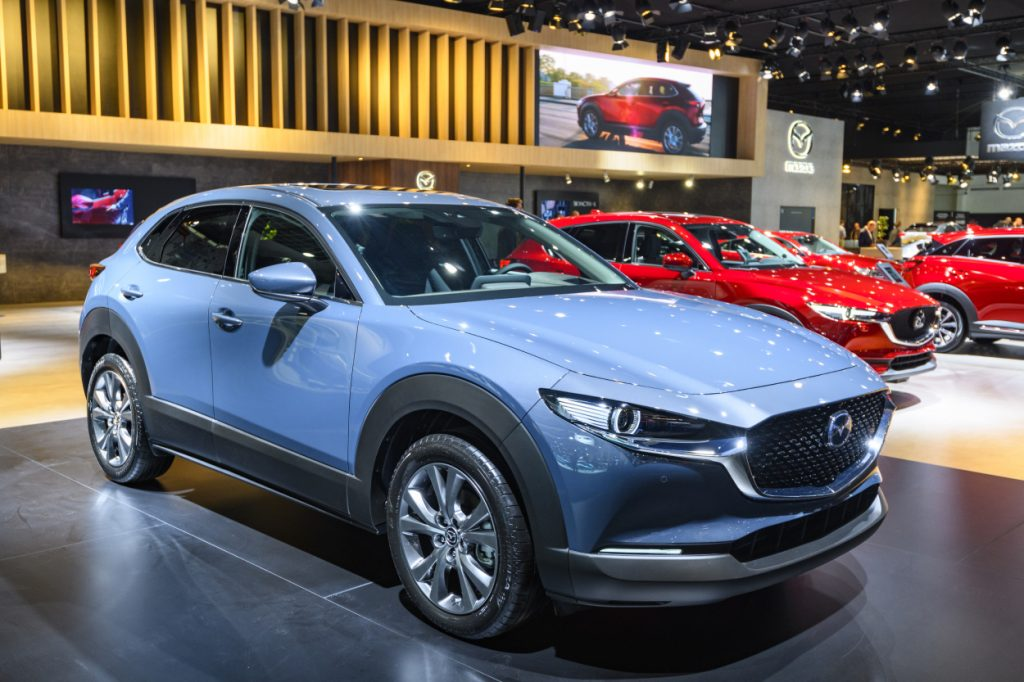 A Mazda CX-30 on display at an auto show