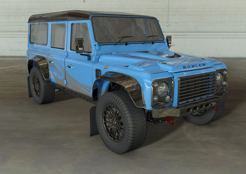 A rendering of a blue Bowler CSP 575 Land Rover Defender