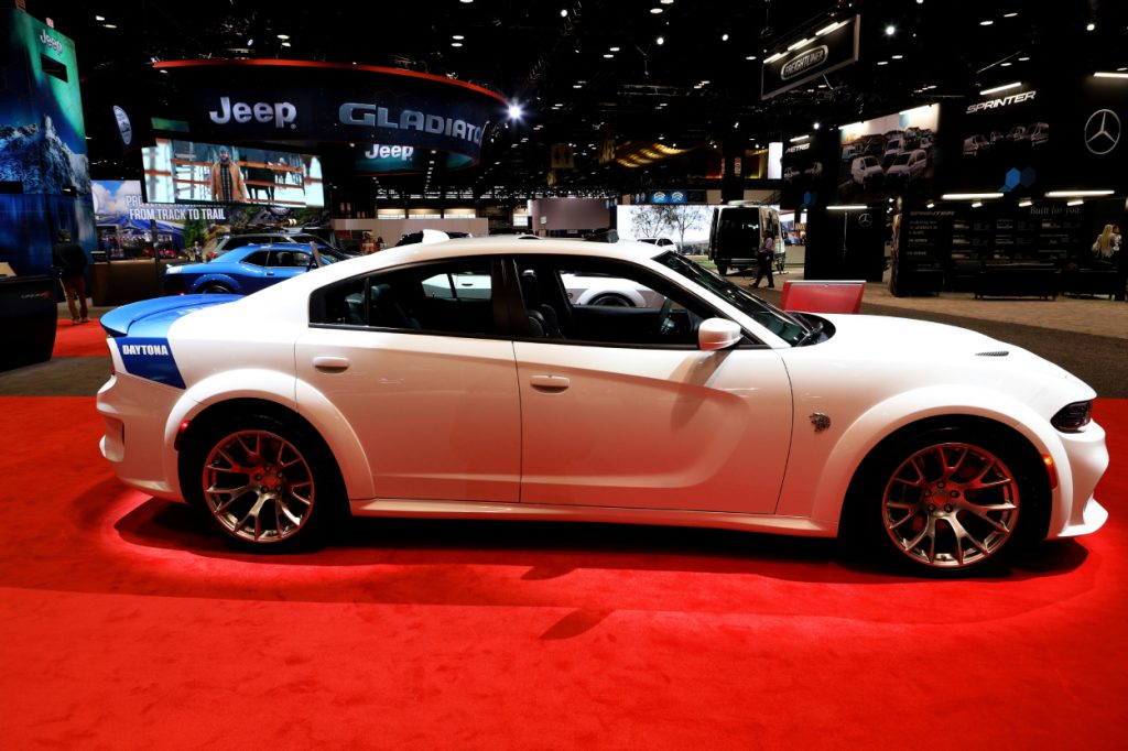 A Dodge Charger SRT Hellcat Widebody on display at an auto show
