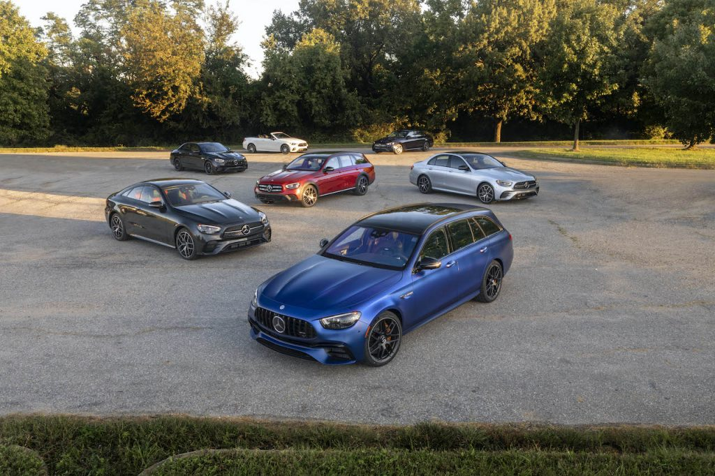 A photo of many variations of the 2021 Mercedes-Benz E-Class outdoors.