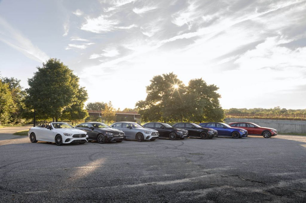 A photo of many variations of the 2021 E-Class outdoors. The E-Class just won another award