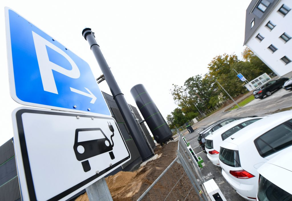 "The first charging station for electric cars and electric bicycles is built in the new Hanau residential area ""Pioneer Park"" on the site of a former US barracks EV charging"