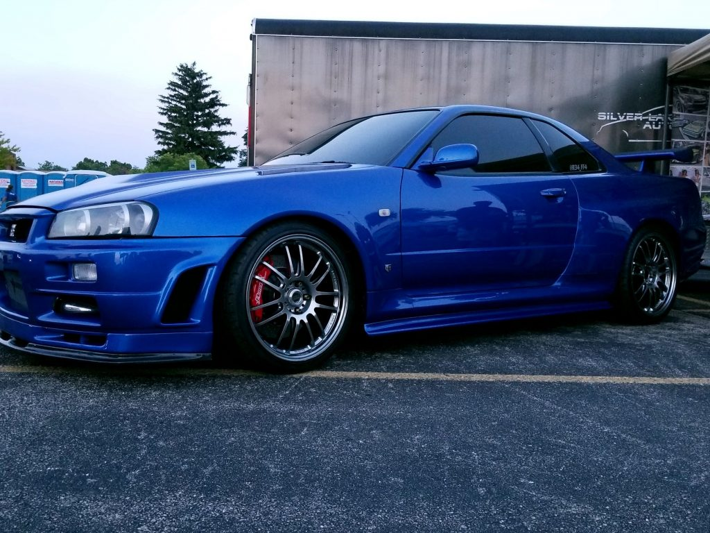 The blue R34 Nissan Skyline GT-R from 'Fast and Furious 4'