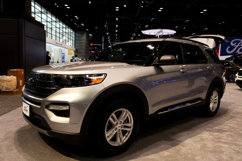 A Ford Explorer on display at an auto show