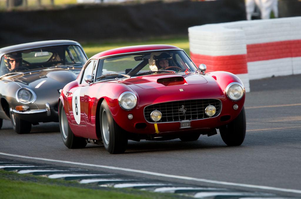 A photo of a 1960 Ferrari 250 GT SWB/C racing on track.
