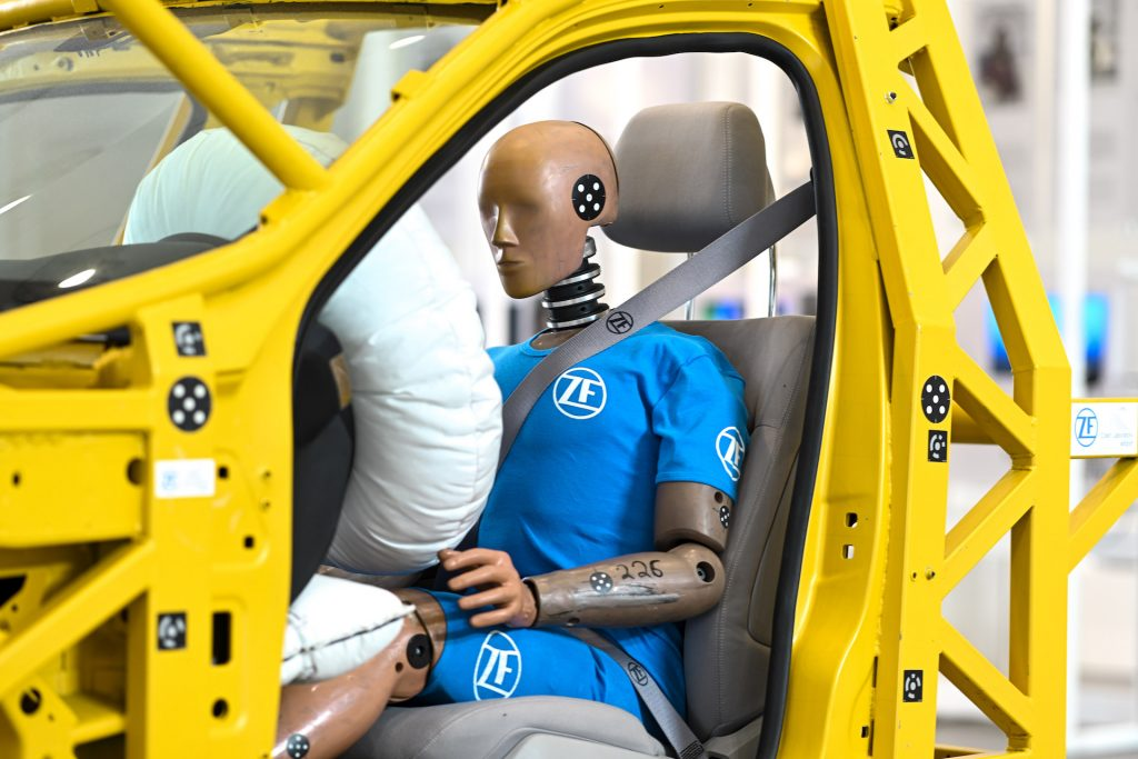 An image of a crash test dummy used for vehicle testing.
