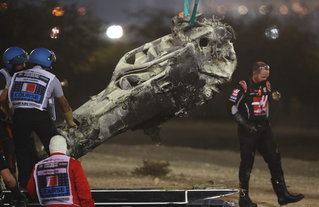 An image of a recent F1 crash in Bahrain involving HAAS driver Romaine Grosjean.