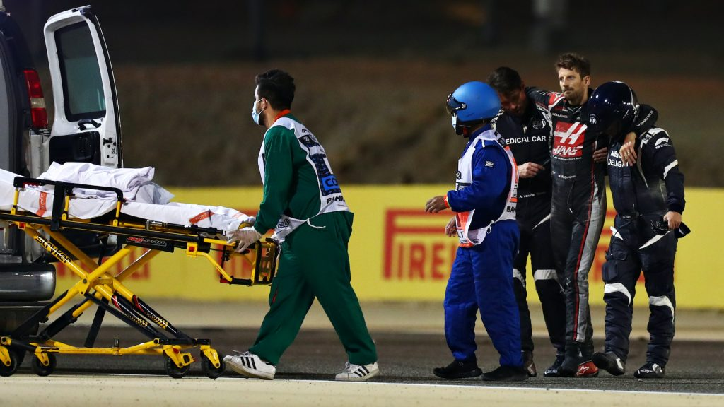 An image of Romaine Grosjean walking away from a major accident during the Bahrain Grand Prix.