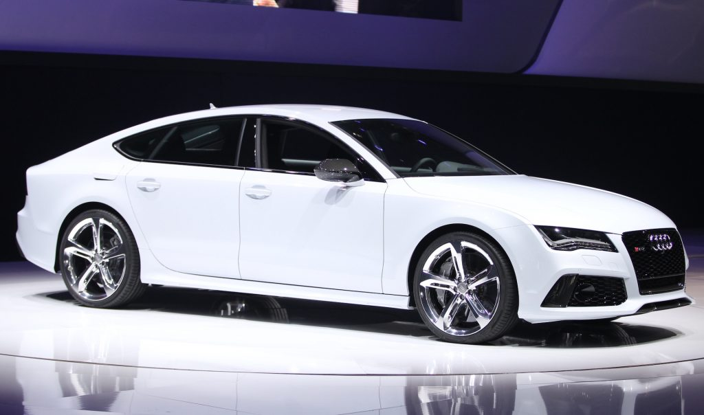 A photo of an Audi RS 7 at an auto show.