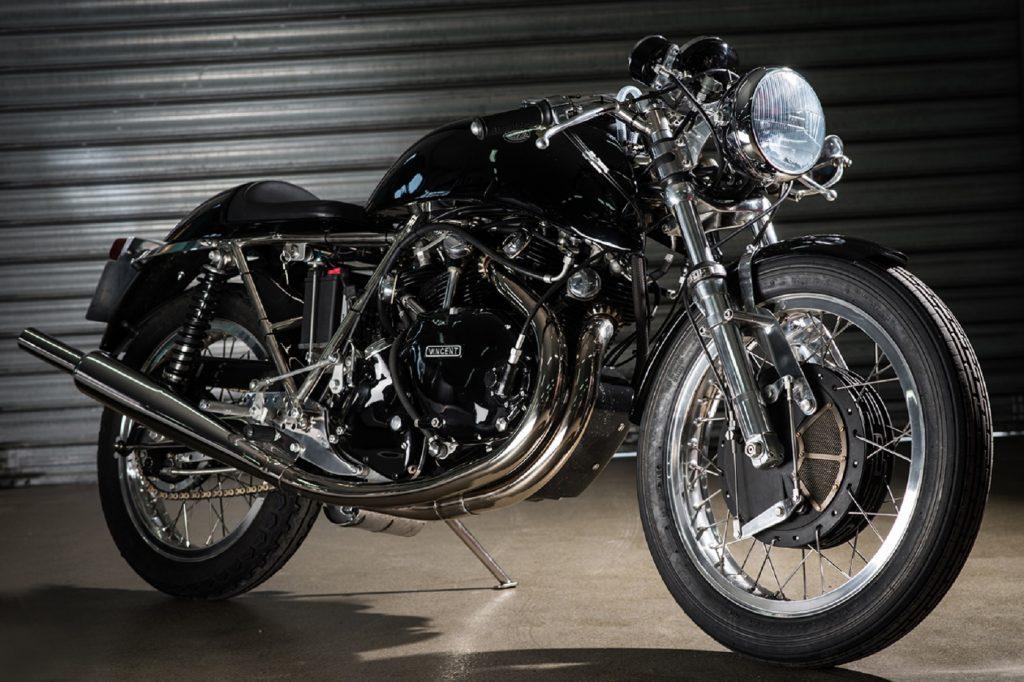 A black Godet Motorcycles Egli-Vincent Cafe Racer