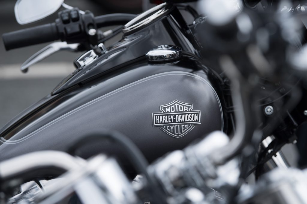 Harley Davidson motorcycles stand side by side before the start of a biker parade on the occasion of the Harley Days Dresden 2019