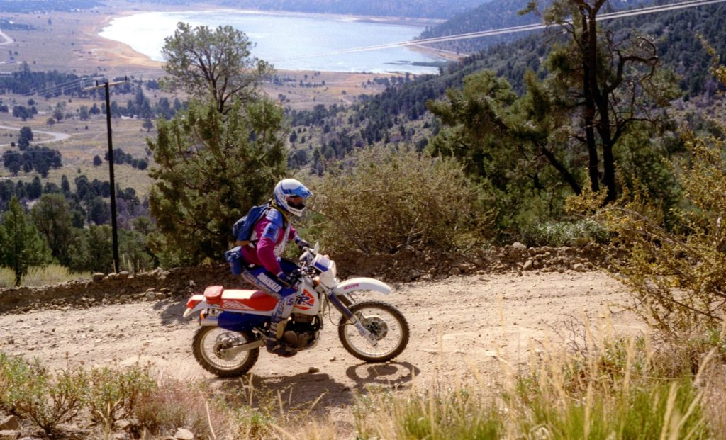 Steve Powell rides his Honda XR 650L in Big Bear