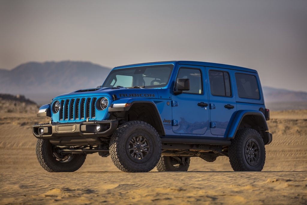 A photo of the 2021 Jeep Wrangler Rubicon 392 on the road.