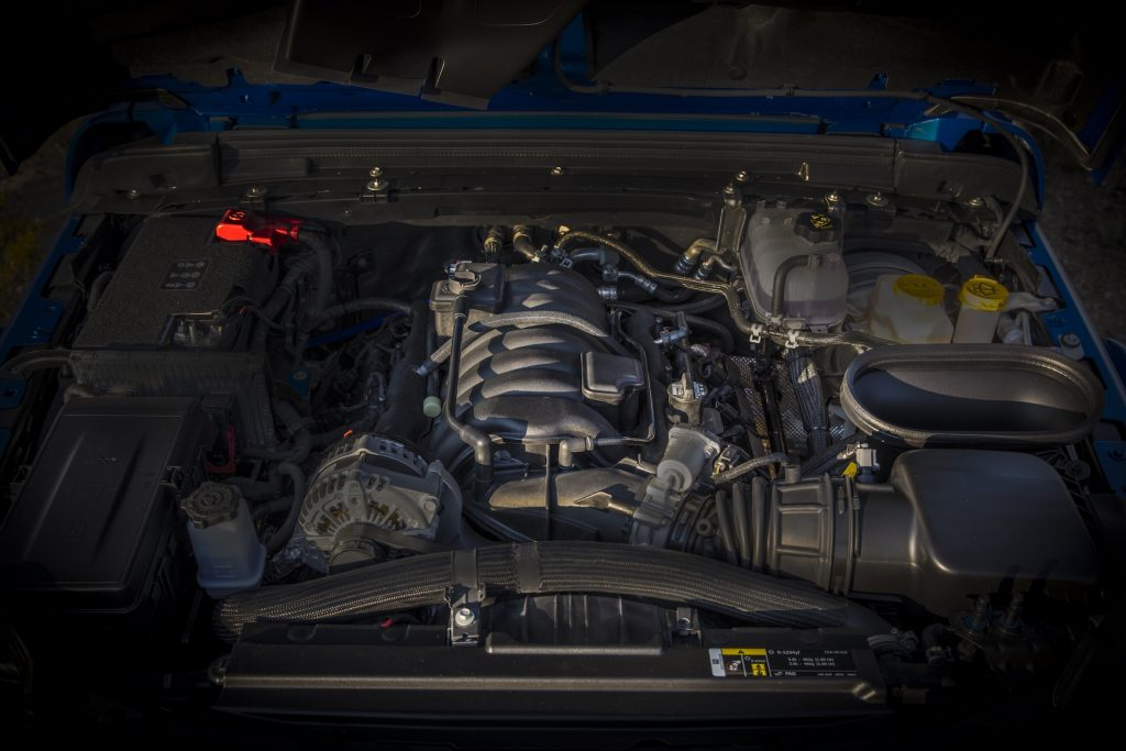 A photo of the 2021 Jeep Wrangler Rubicon 392's engine bay.
