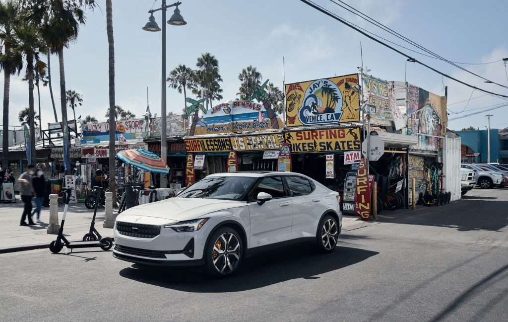 A photo of the Polestar 2 outdoors.