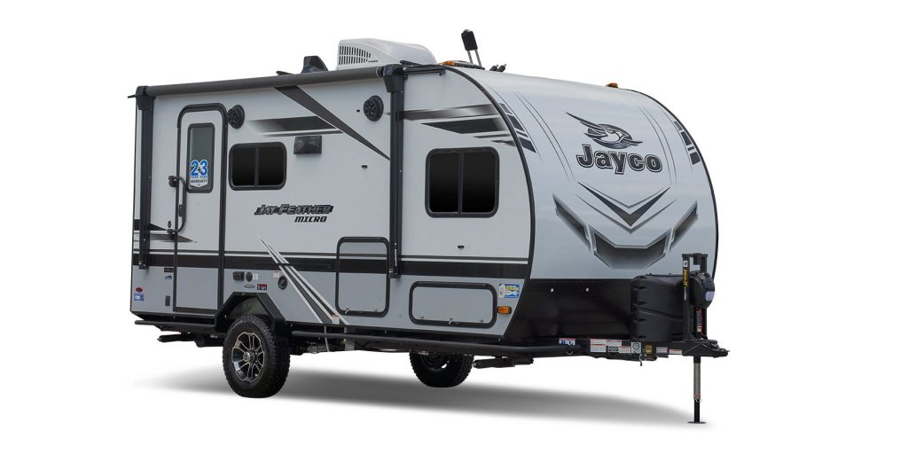 A stock photo of the Jay Feather Micro Trailer.