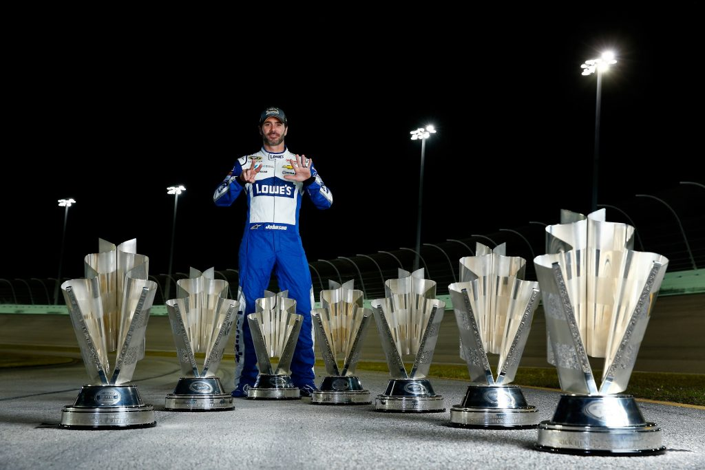 Jimmie Johnson poses for a portrait after winning the 7th NASCAR Sprint Cup Series Championship