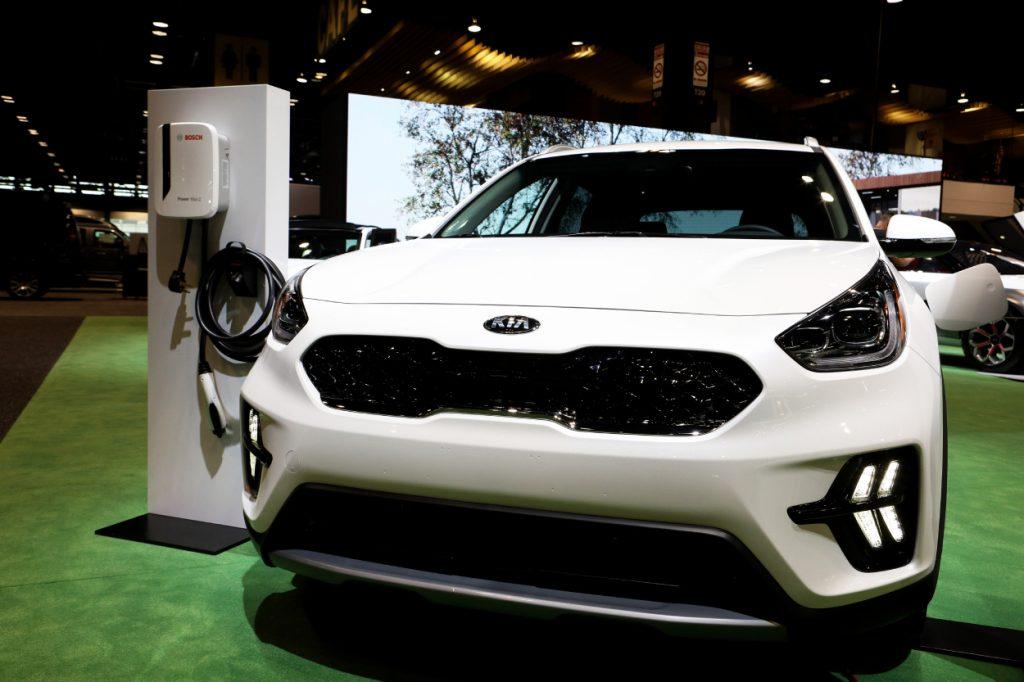 A Kia Niro PHEV on display at an auto show