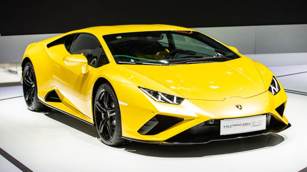 A Lamborghini Huracan on display at an auto show