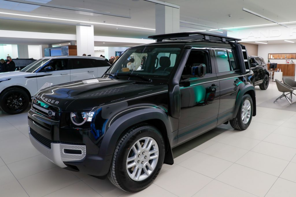 Land Rover Defender on display in a showroom