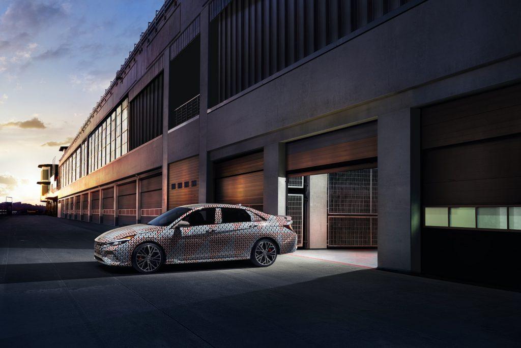 A photo of the 2021 Hyundai Elantra N at a track.