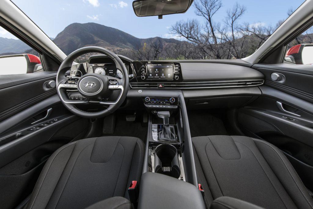 Front seats of the 2021 Hyundai Elantra.