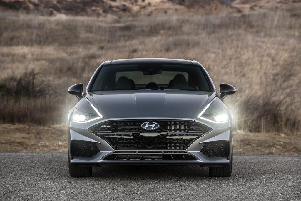 A photo of the 2021 Hyundai Sonata N Line outdoors.