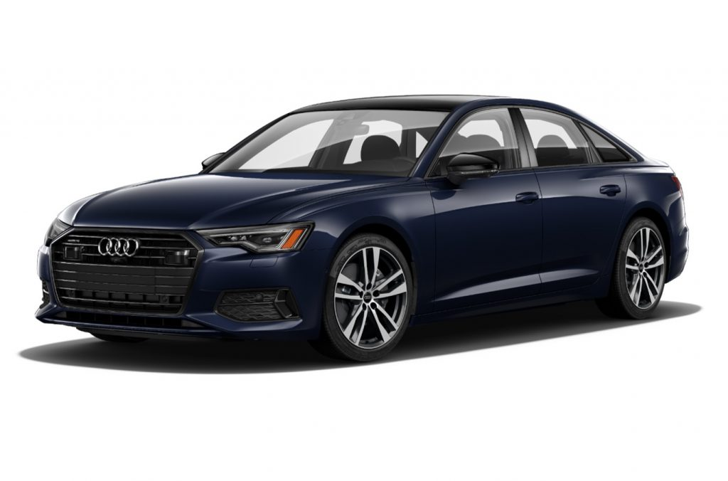 A blue 2021 Audi A6 on display with a white background