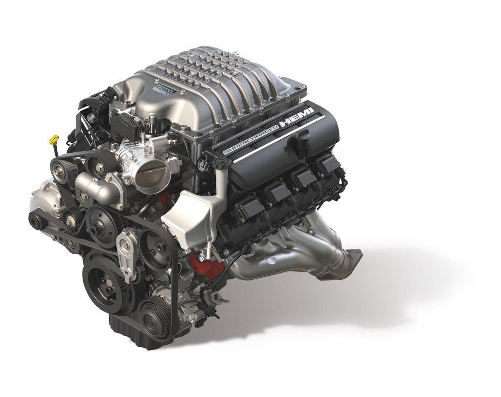 A digital image of the Dodge Challenger SRT Redeye's supercharged V8 engine.